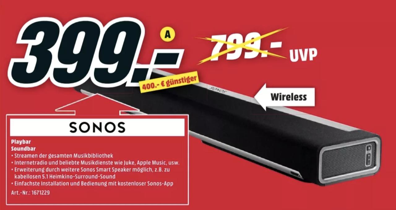 Sonos Playbar für 399€ [MediaMarkt Kassel]