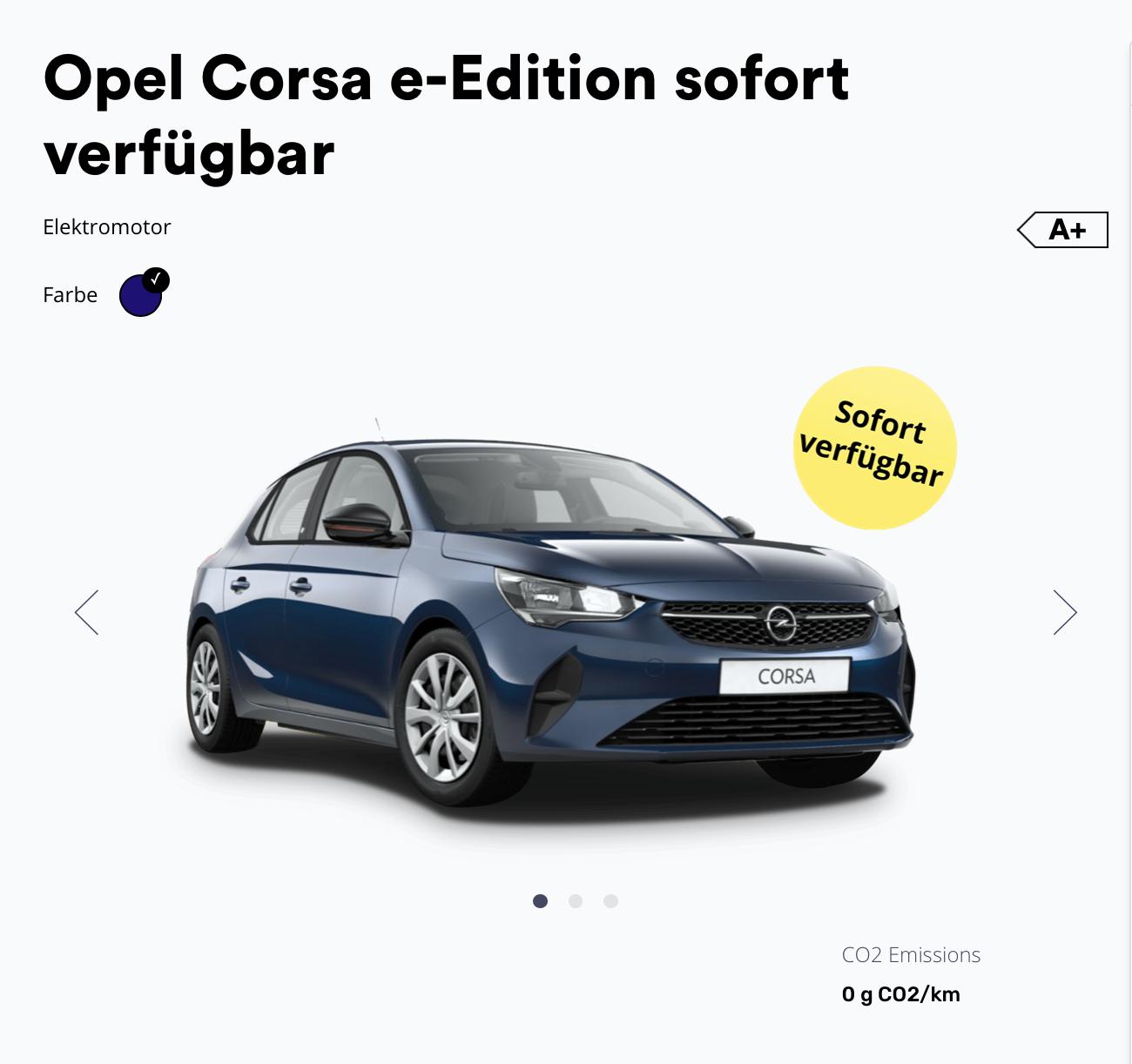 Elektro-Deal (Gewerbe): Opel e-Corsa ab 99€ (sofort verfügbar) oder ab 79,- zum Bestellen!