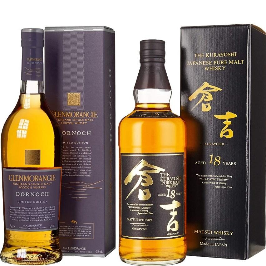 Whisky-Übersicht #44: z.B. Glenmorangie Dornoch Single Malt 43% vol. für 43,45€, Kurayoshi 18 Japanese Pure Malt für 149,00€ inkl. Versand
