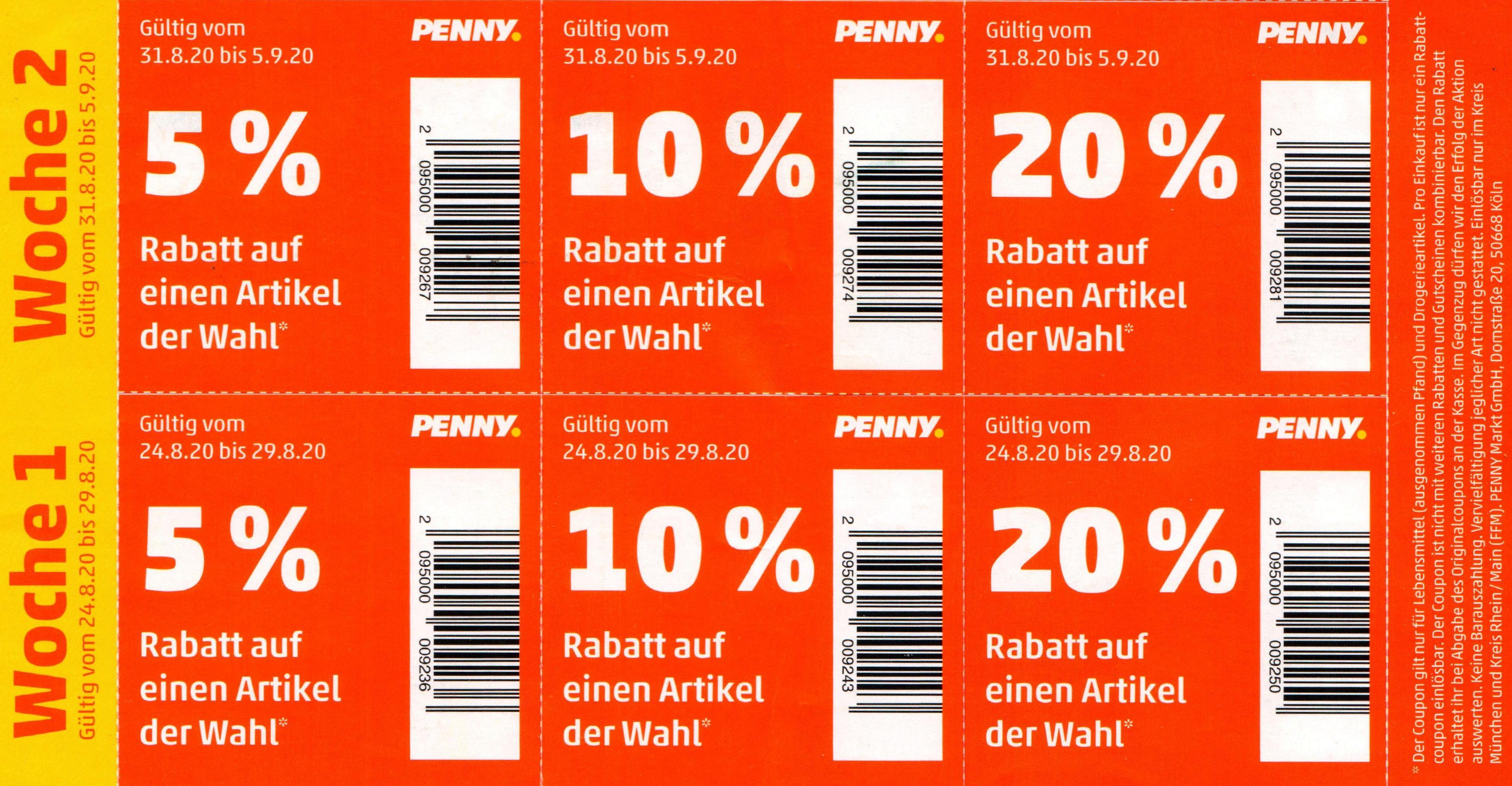 [Penny] evtl nur Lokal: 5% / 10% / 20% Rabatt-Coupon Aufkleber im Prospekt bis 05.09.2020 (KW35/36)