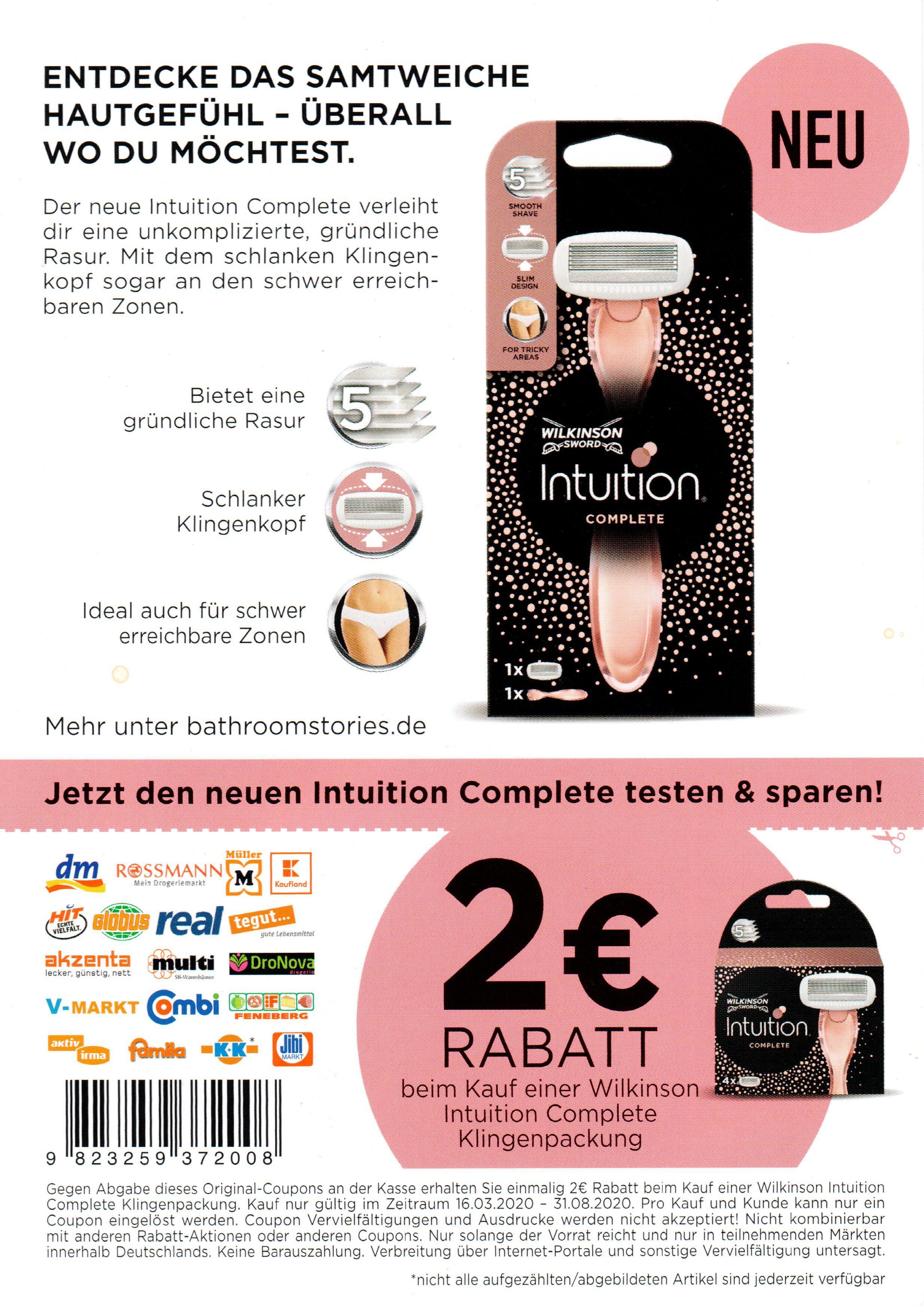 2€ Coupon für Wilkinson Intuition Complete Rasierklingen bis 31.08.2020