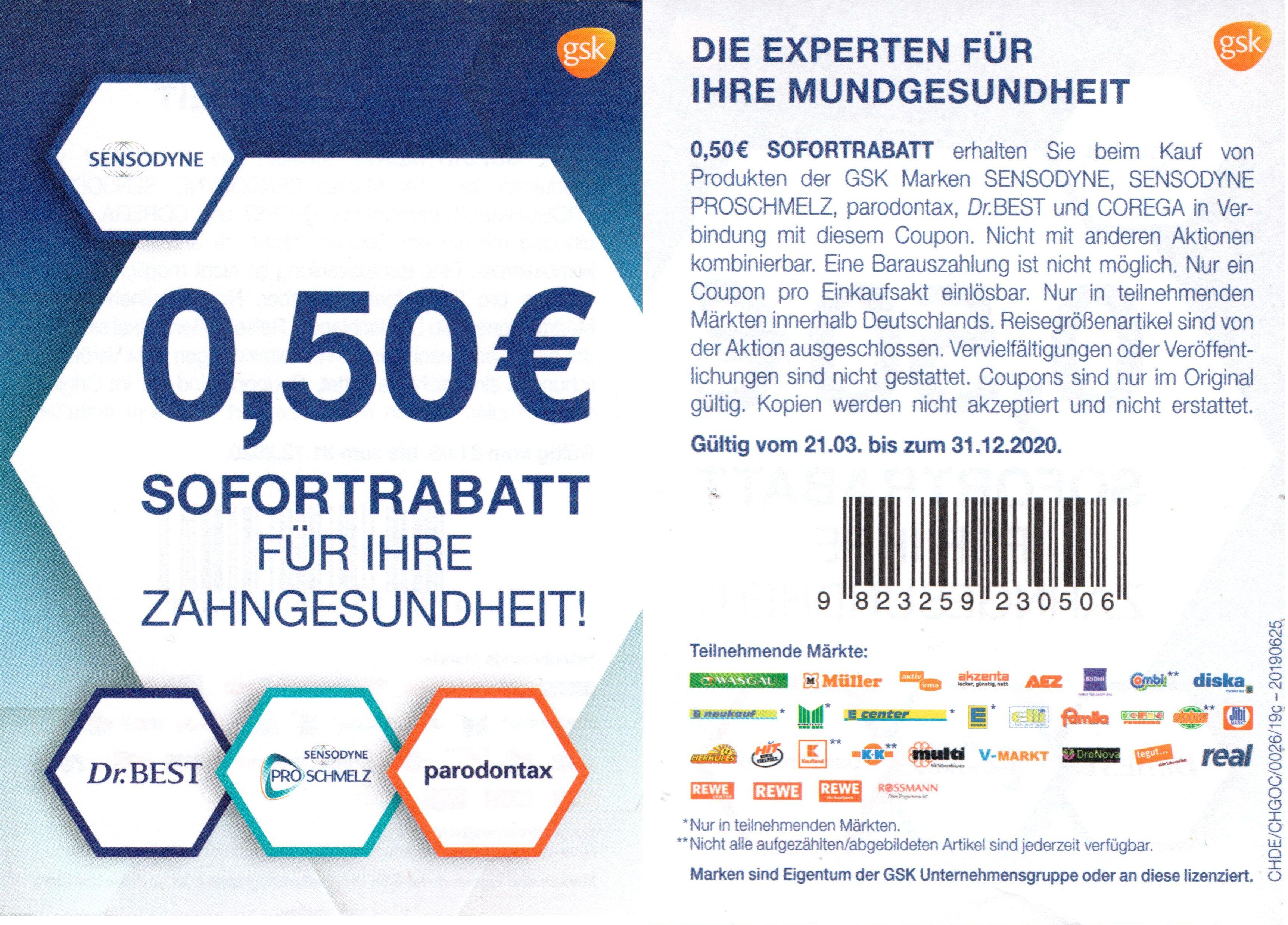 0,50€ Coupon für den Kauf eines Dr. Best, Sensodyne ProSchmelz oder Parodontax Produktes bis 31.12.2020 zum Ausdrucken in PDF