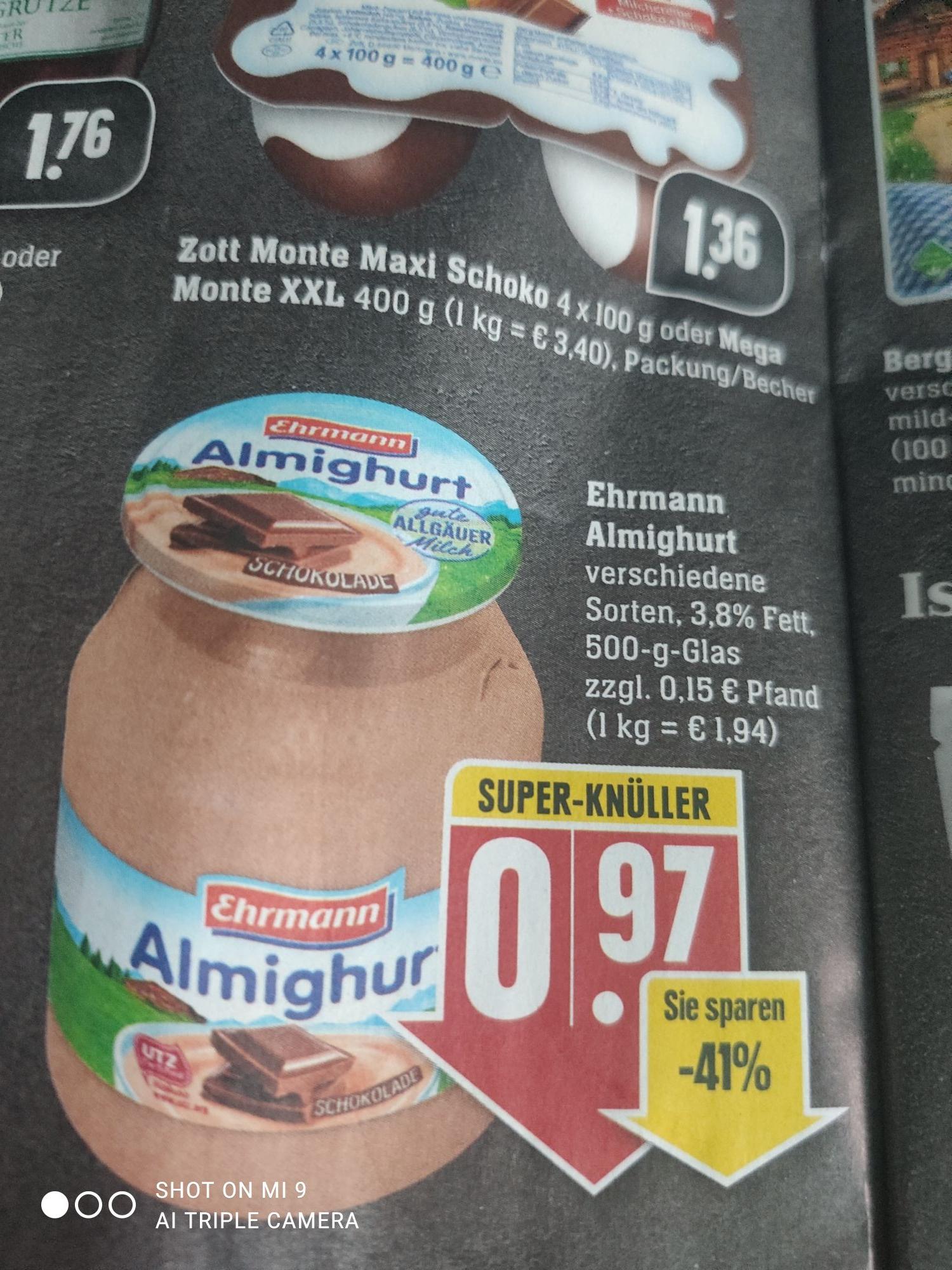 [EDEKA Südwest] Ehrmann Almighurt im Mehrweg-Glas für 0,97€