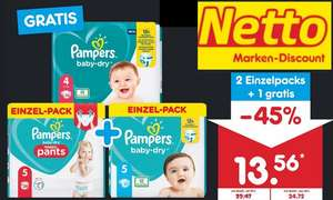 [Netto MD, lokal] Pampers Baby Dry Windeln/Pants 3x Einzelpack 13,56€