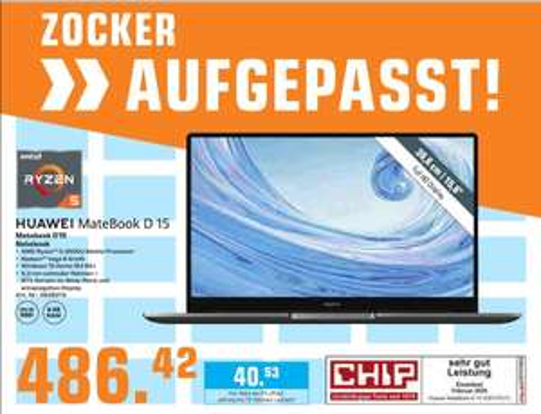 (Saturn Berlin & Potsdam) Huawei Matebook D 15 (2020)/ Ryzen 3500 / 256 GB SSD / 8 GB RAM/ Win10
