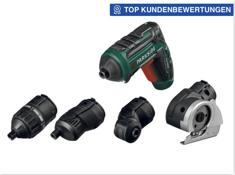 Online und lokal kombiniert: PARKSIDE® 5Nm Akkuschrauber »PAS4«, 4Aufsätze, 28Bits+Verlä., Lithium-Ionen Akku, integrierte LED-Leuchte
