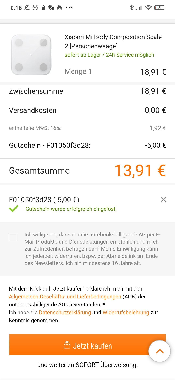 5€ Notebooksbilliger Gutschein ohne MBW