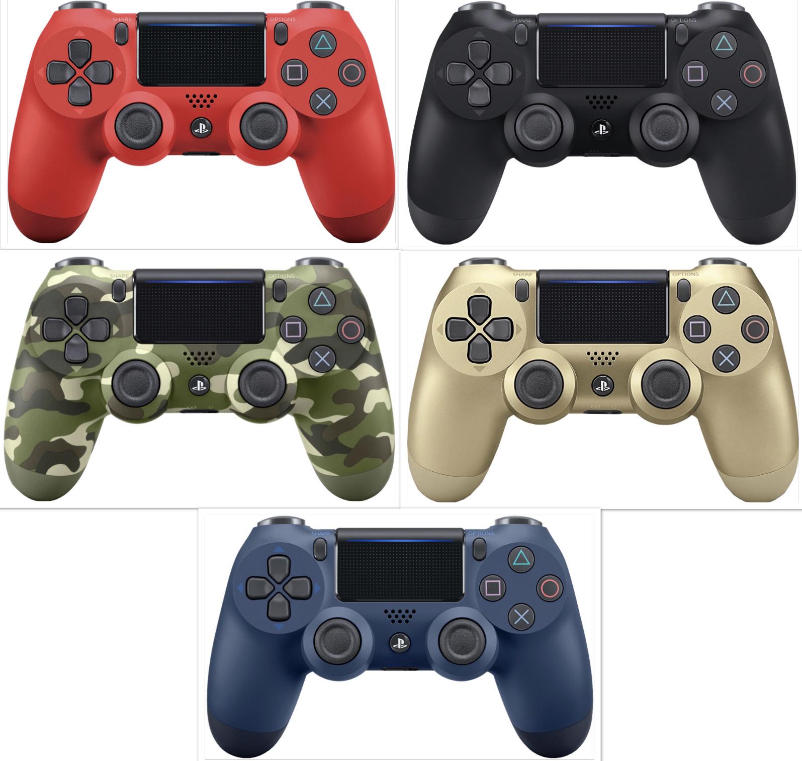 Sony Playstation Dualshock 4 V2 Wireless Controller Jet Black o. Red für je 42,99€ / Midnight Blue, Camouflage, Gold für je 47,73€