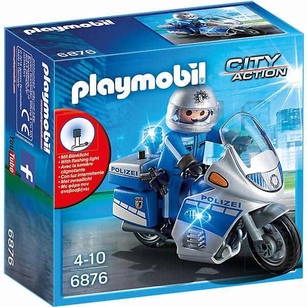 PLAYMOBIL City Action 6876 Motorradstreife mit LED-Blinklicht + weitere Playmobil Polizei Artikel