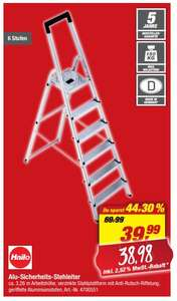 HAILO Aluminium-Stehleiter 'L20 Basic EasyClix', mit 6 Stufen 38,98 Euro [ Toom-Filiale ]