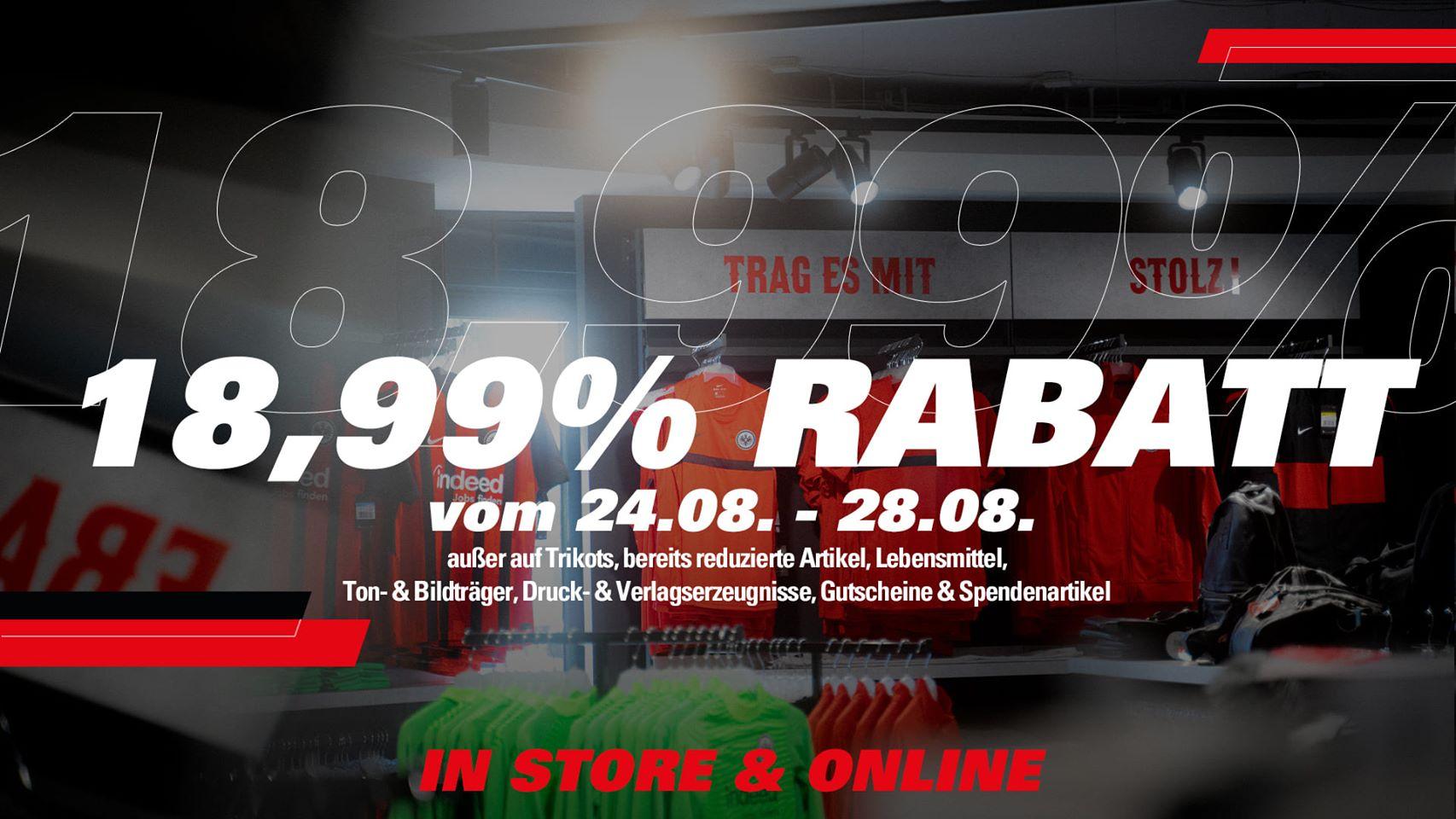 [Eintracht Frankfurt] 18,99% Rabatt im Fanshop (offline und online)