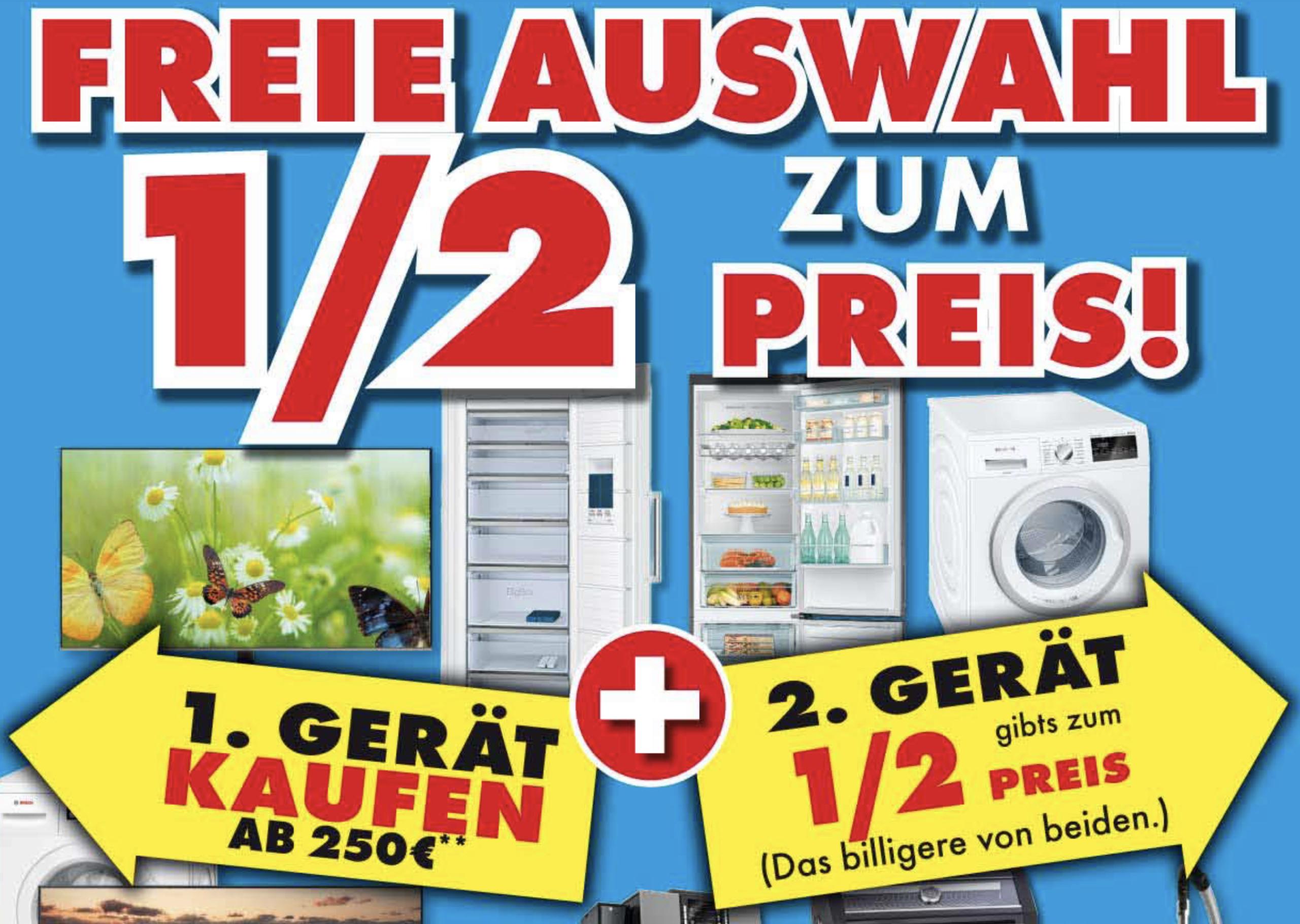 Lokal Euronics Hartmann: 1 Gerät kaufen (ab 250€) und das 2. zum 1/2 Preis - Unterhaltungselektronik, TVs, Haushalts-Groß u. Kleingeräte