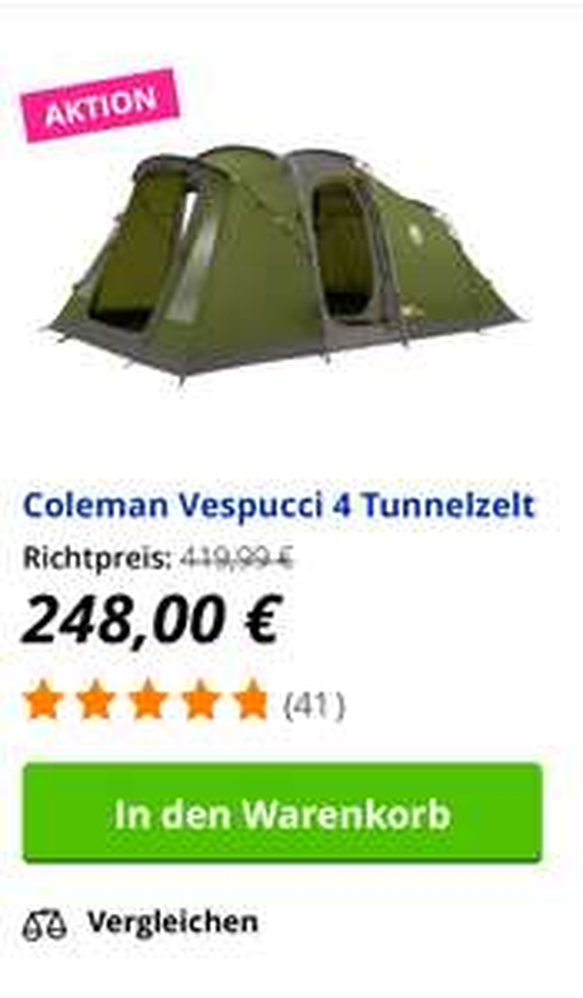 Zelt Coleman Vespucci 4 bei Obelink