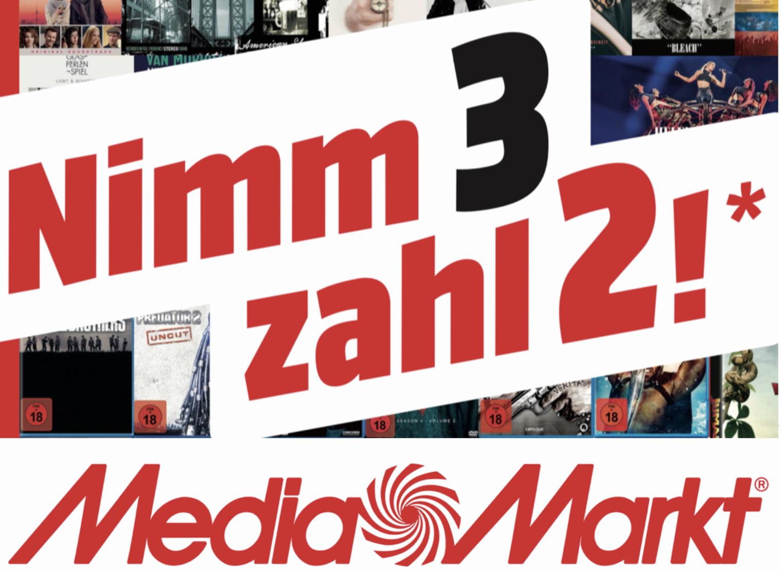 Lokal MediaMarkt Ulm: 3 für 2 auf Games, Film u. Musik