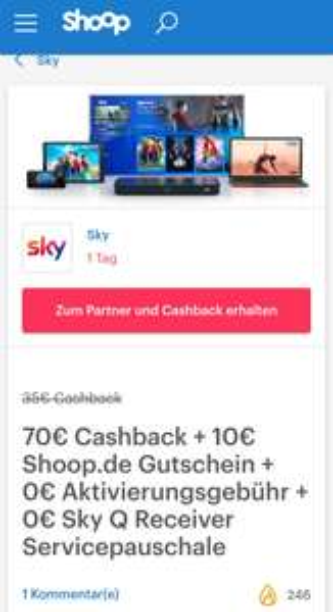 Shoop und Sky 70€ Cashback + 10€ Shoop.de Gutschein + 0€ Aktivierungsgebühr + 0€ Sky Q Receiver Servicepauschale