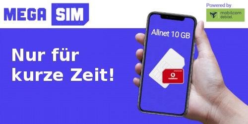 Mega-SIM Allnet Flat 10 GB LTE 10 GB für 11,99€/Monat