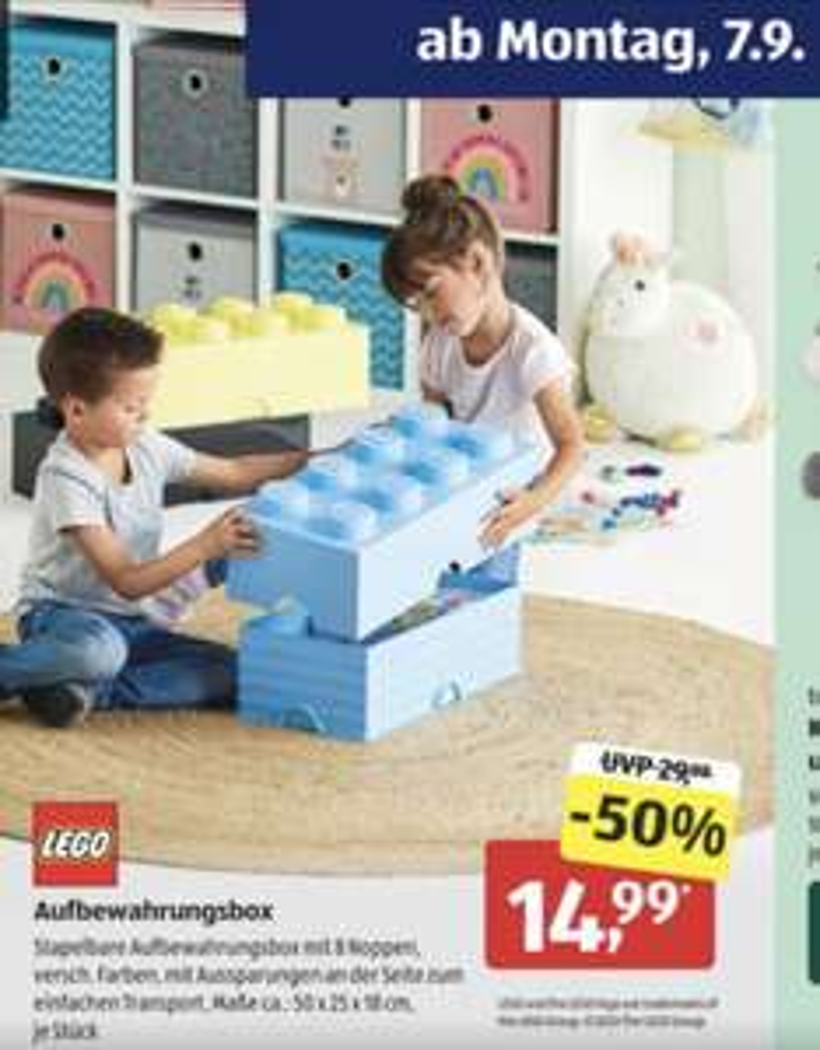 [aldi süd und nord] LEGO Aufbewahrungsbox 8 Noppen Stapelbar ca 50x25x18 cm
