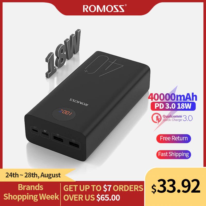 ROMOSS Zeus 40000mAh Powerbank (Externer Akku, 18W, PD, QC 3,0, Typ-C) für 30,07€