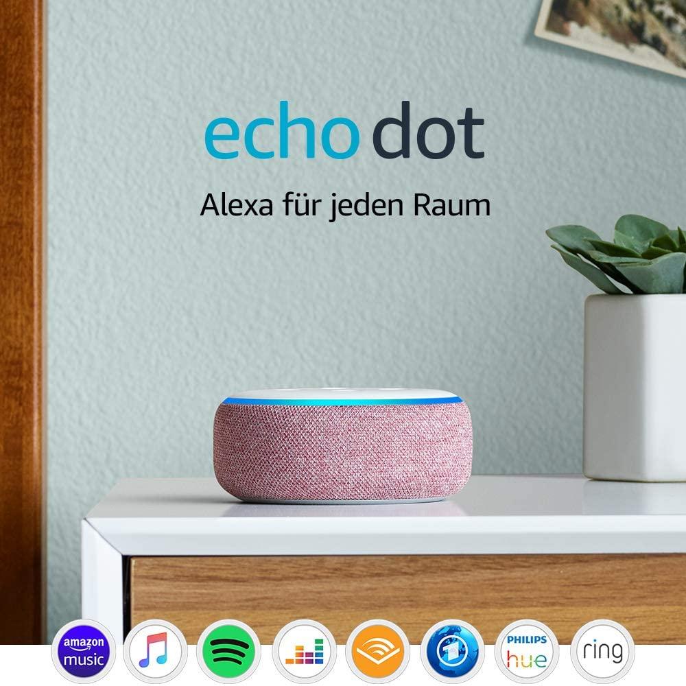 Amazon Echo Dot (3. Generation) Lila Stoff für 29,76€ | Anthrazit o. Hellgrau für 31,76€ [Cyberport]