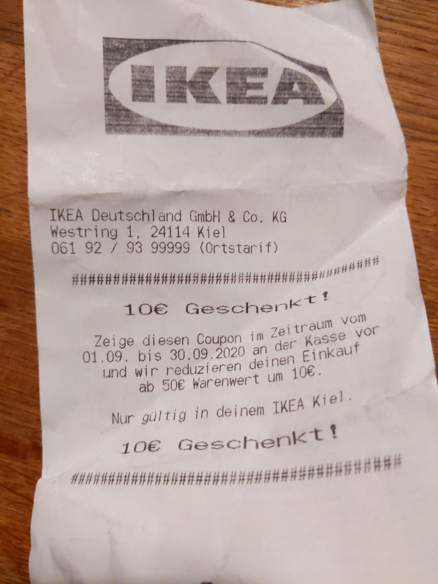 Lokal - Ikea Kiel/Hamburg Altona Coupon 10€ ab 50€ Warenwert im September