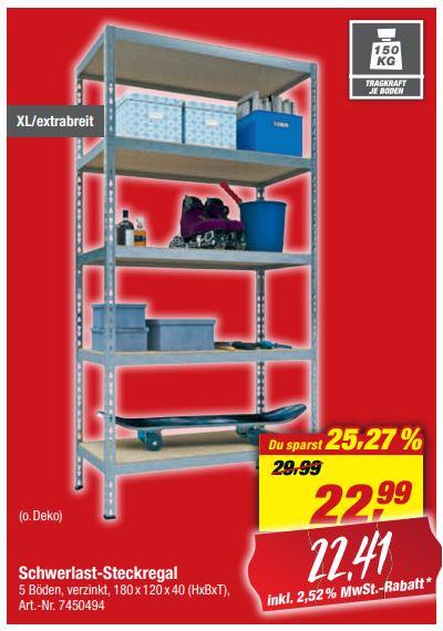 XL Schwerlastregal 180 x 120 x 40 cm, 5 Holzböden à 150 kg für 22,41 Euro [Toom-Filiale]