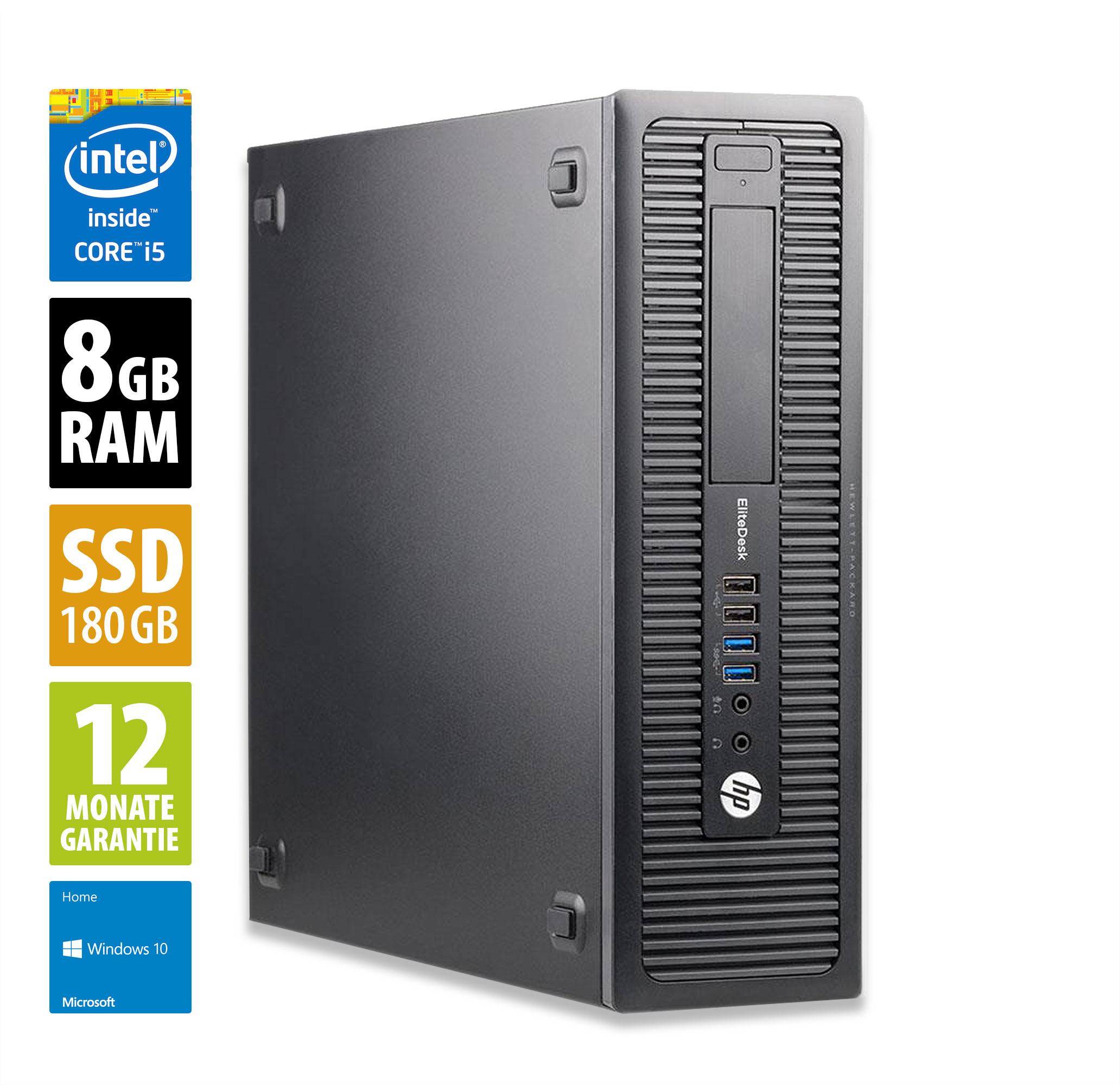 [Grade A] HP EliteDesk 800 G1 SFF (i5-4570, 8GB DDR3-RAM, 180GB SSD, 4x USB 3.0, 6x USB 2.0, 2x DisplayPort, VGA, LAN, Win10 Home)