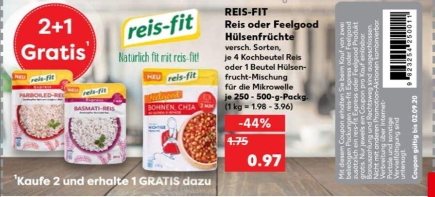 [Kaufland] 3x reis-fit Express Mikrowellen-Reis für 1,94 €