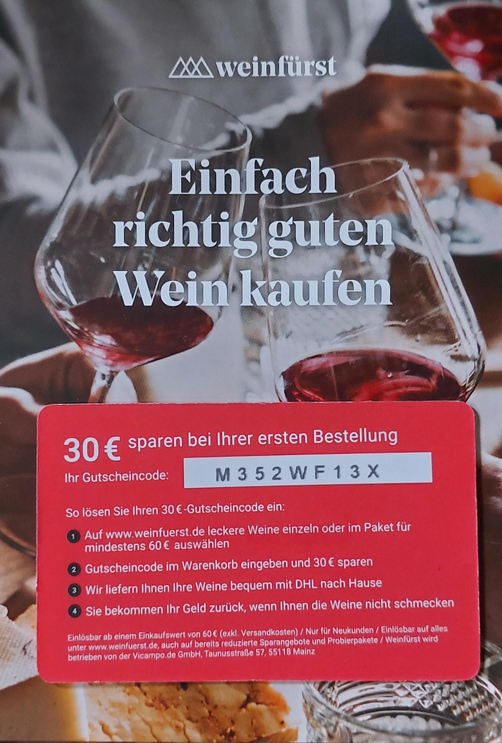 """30€ Wein Gutschein """"Weinfürst"""""""