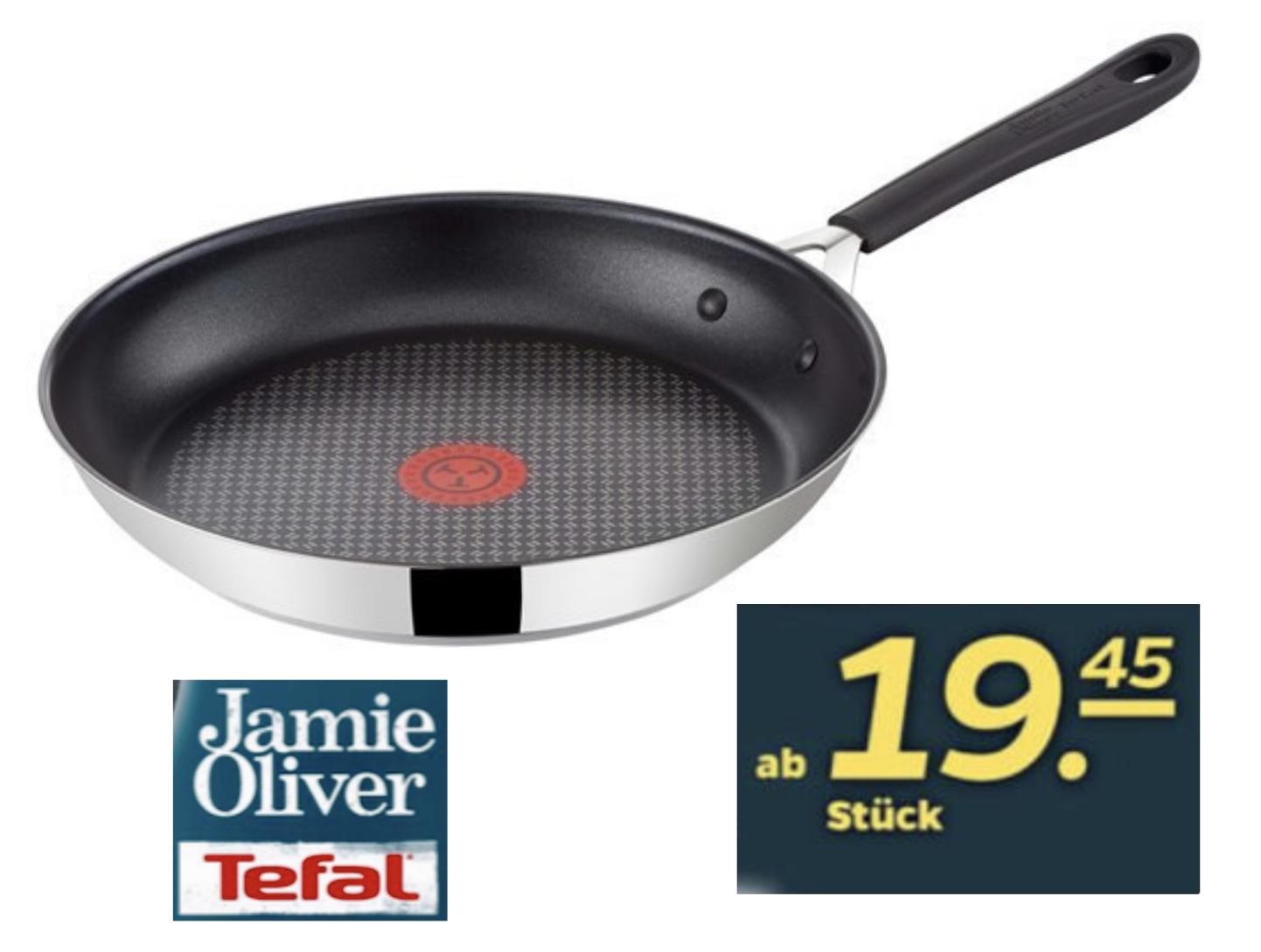 NETTO Scottie: Tefal Jamie Oliver Bratpfanne Edelstahl mit THERMO-SPOT 24cm für 19,45€ / 28cm für 24,32€