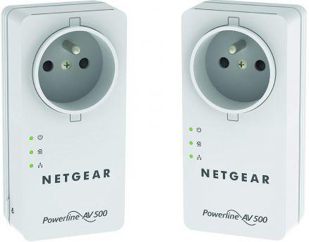 [Refurbished] 2x Netgear Powerline 500 PassThru Adapter XAVB5401 (bis 500MBit/s übers Stromnetz bzw. 100 MBit/s über LAN)