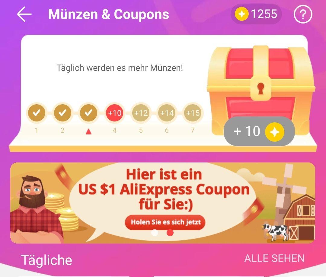 1$ AliExpress Gutschein ab 1,01$ nutzbar