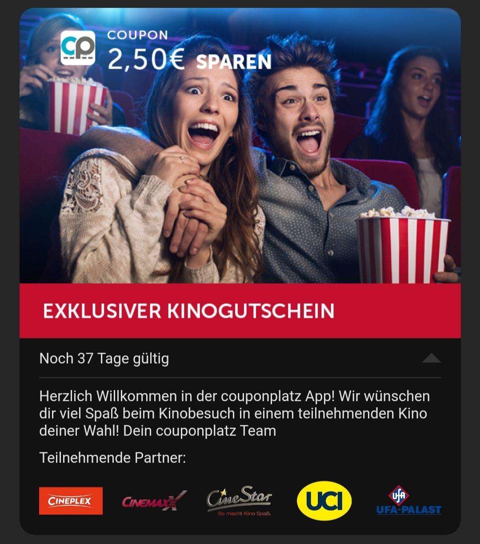 [Couponplatz.de App] 2,50 € Rabatt auf ein Kinoticket