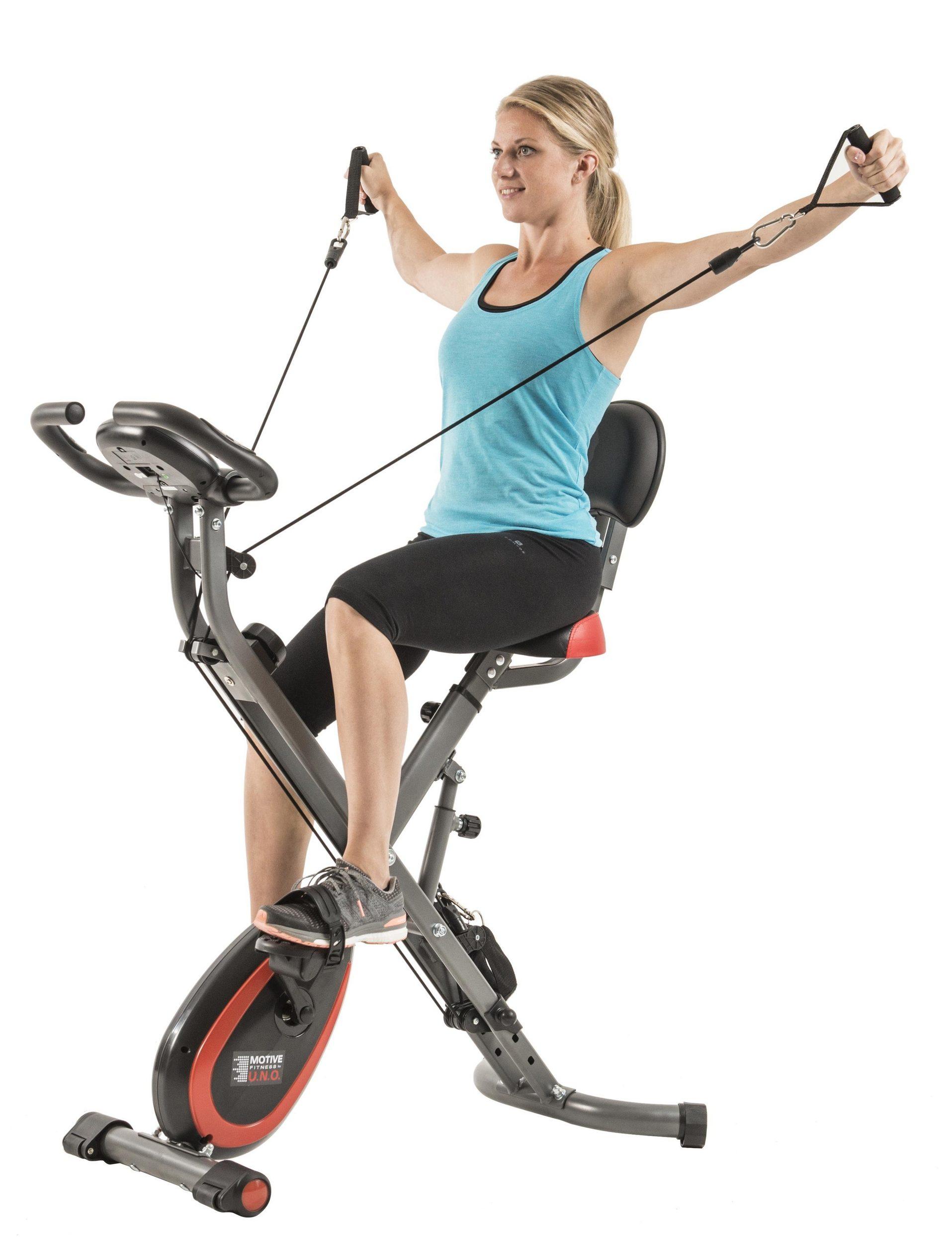 Motive Fitness by U.N.O. Multi-Function X-Bike (klappbarer Heimtrainer mit Seilzug für Arm- und Beintraining, bis 120kg Benutzergewicht)