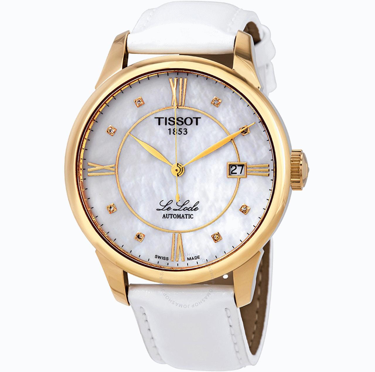 Tissot Le Locle Automatik Damen Uhr weiß/gold (ETA 2824-2, Saphirglas, Perlmutt)