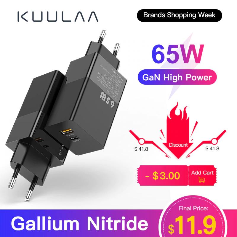 [AliEx] KUULAA GaN 65W USB-C Ladegerät Netzteil QC 4.0 PD 3.0 für Laptops / Tablets / Smartphones