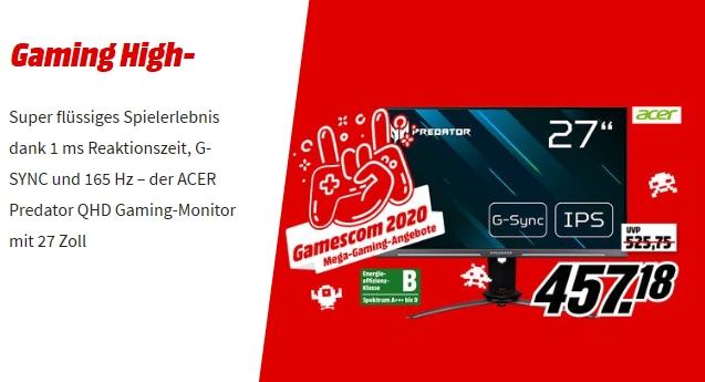 [Mediamarkt /Saturn) ACER Predator XB273UGS 27 Zoll QHD Gaming Monitor (1 ms Reaktionszeit, G-SYNC, 165 Hz) für 457,18€