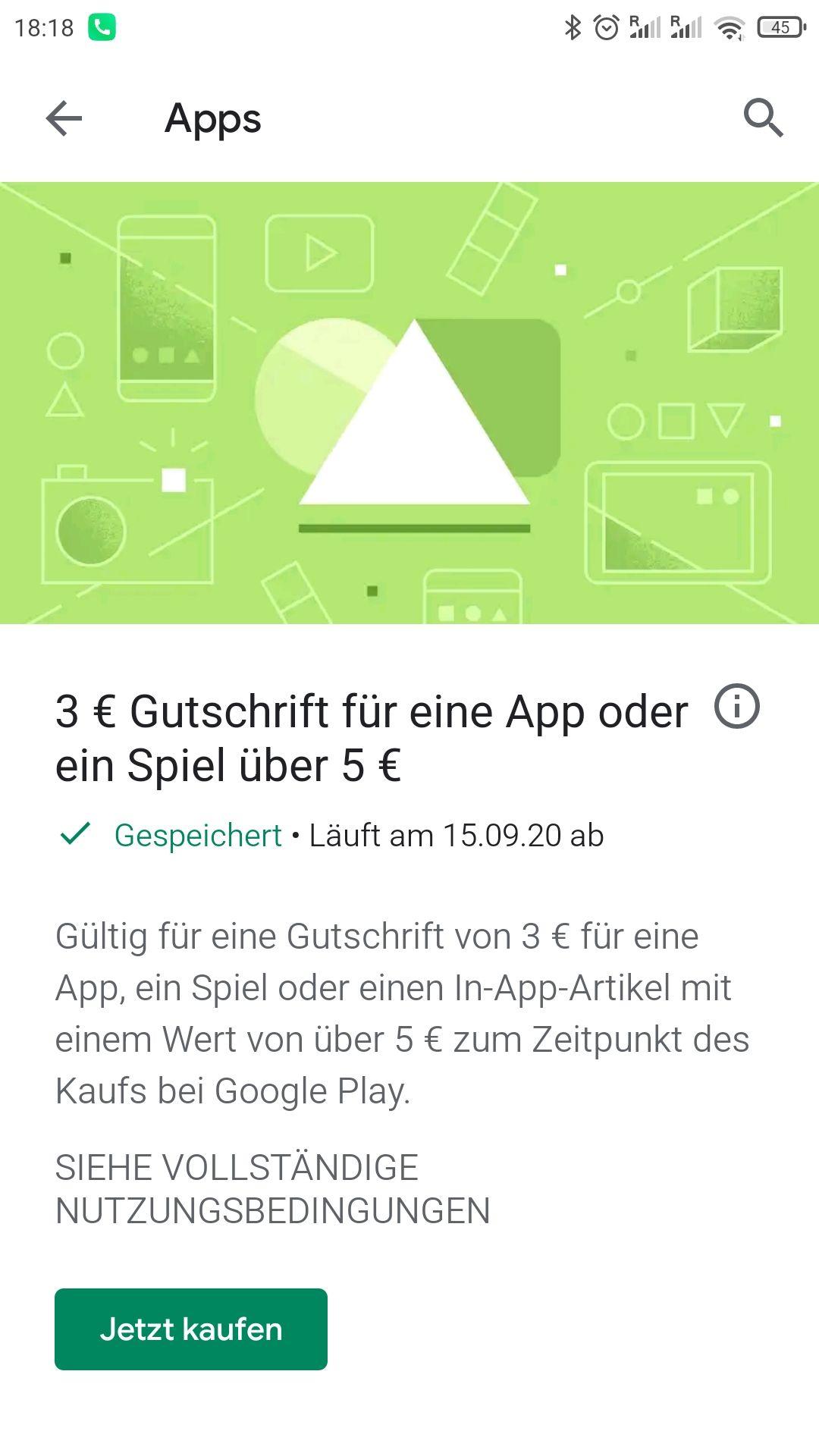 [personalisiert Google Play] 3€ Rabatt ab 5€ für ein Spiel oder App