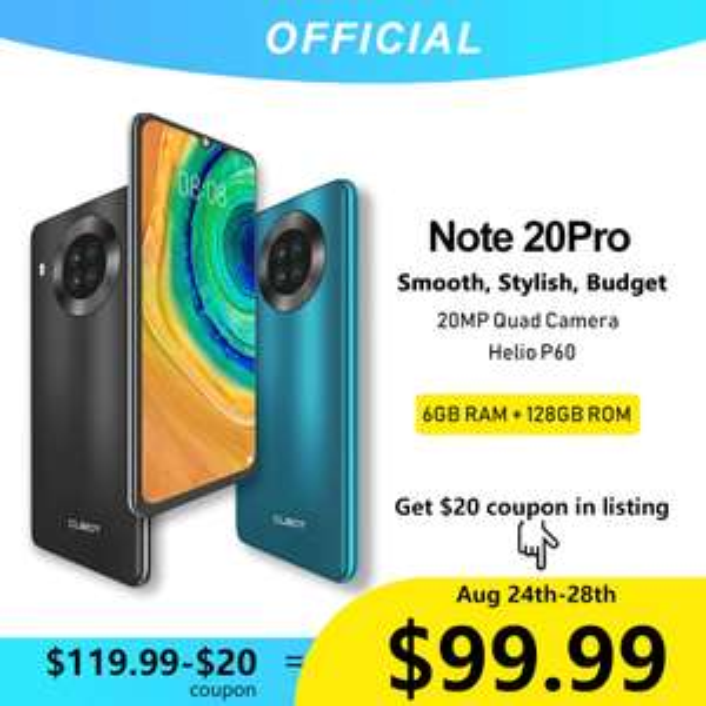 Cubot Note 20 Pro & 1-Jahr-Garantie (6GB + 128GB, NFC, 6,5 Zoll, 4200mAh,Dual Sim) für 91,38 €