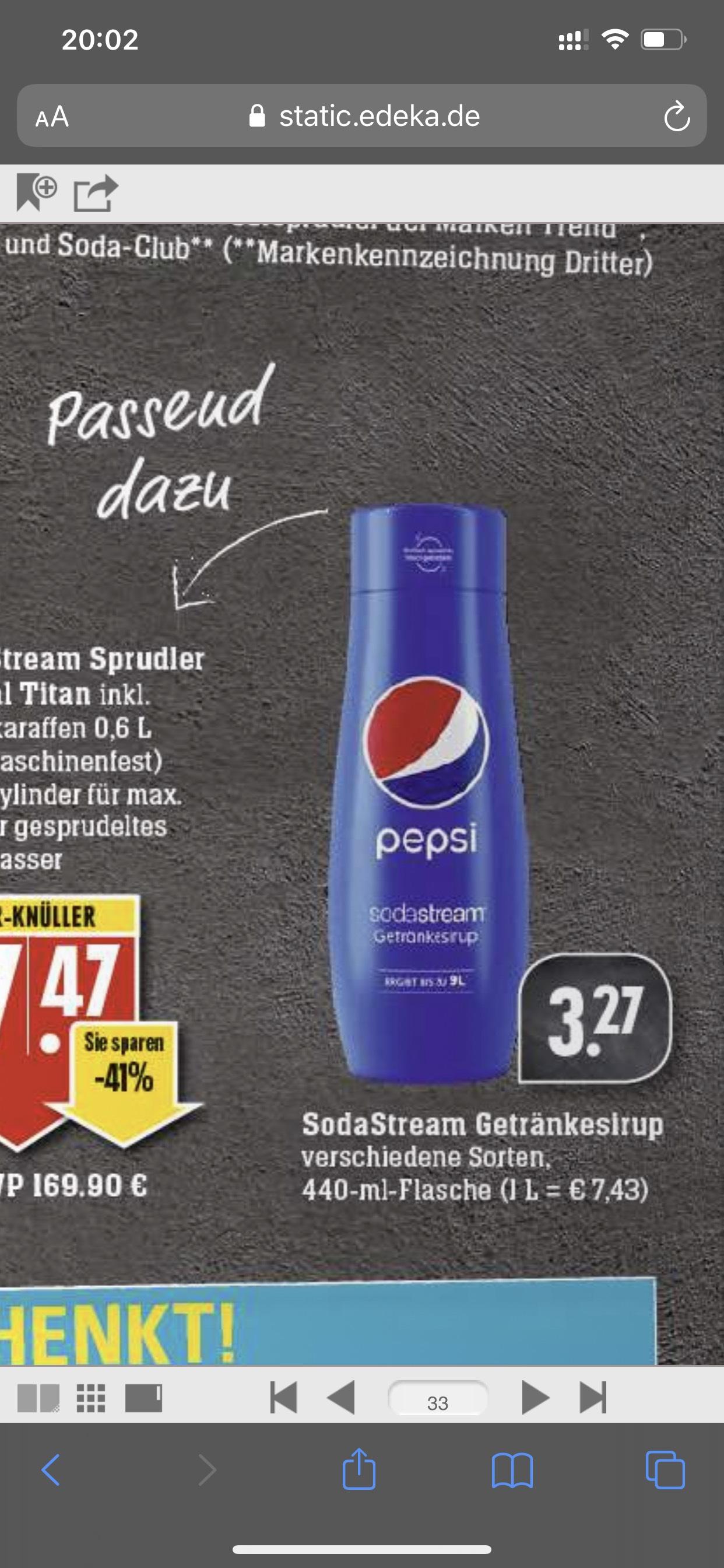 EDEKA Pepsi Sirup ver. Sorten für Sodastream