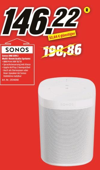 [Regional Mediamarkt Peine/Holzminden] Sonos One (2. Gen), Multiroom-Lautsprecher, für Musik-Streaming,weiß für 146,22€