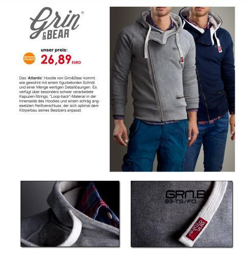 x09 GRIN&BEAR ATLANTIC Hoodie Jacke Kapuzen Pullover Pulli Hemd Sweatshirt Herren