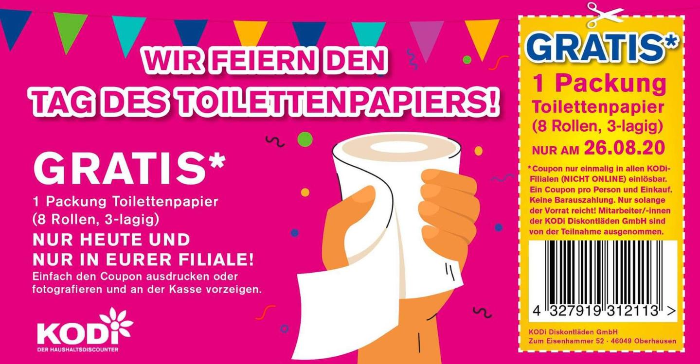 Kodi (offline) - Toilettenpapier gratis ! Nur heute 26.08.2020
