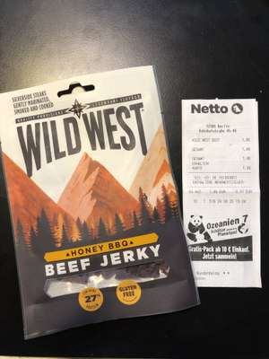 Wild West Beef Jerky Honey BBQ 35g bei Netto mit dem Hund Scottie