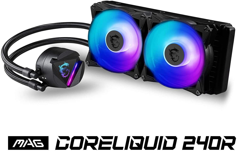 MSI MAG CoreLiquid 240R CPU-Kühler mit 240mm ARGB Kühler (2x 120mm PWM Lüfter, für Intel & AMD, rotierendes Logo, RGB)