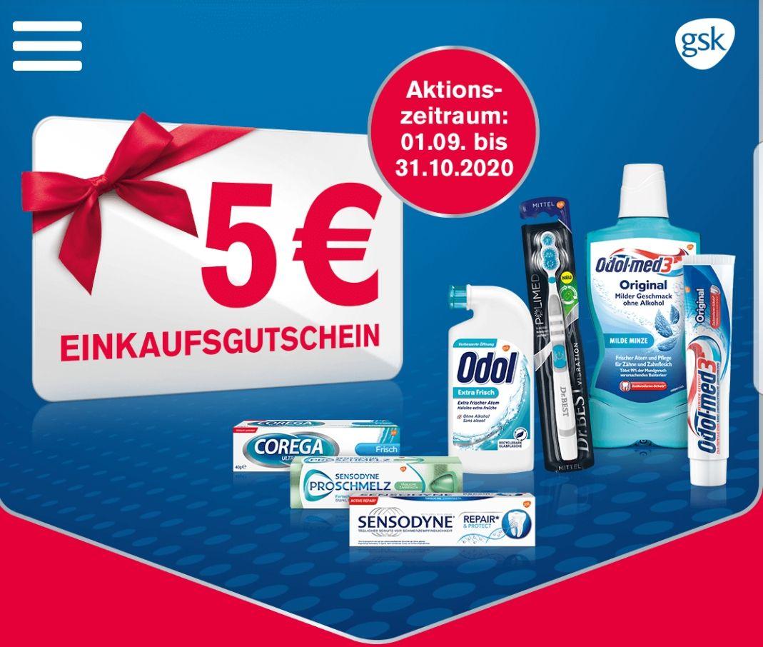 GSK-Aktion 5€ Einkaufsgutschein bei MEW von 10€, Sensodyne Dr. Best Odol und weitere, beliebiger Händler