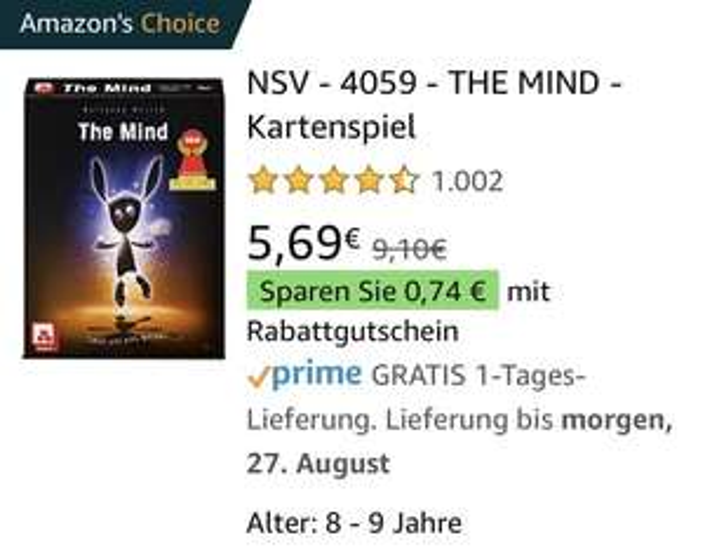[Thalia/Amazon Prime] NSV - 4059 - The Mind [Kartenspiel]
