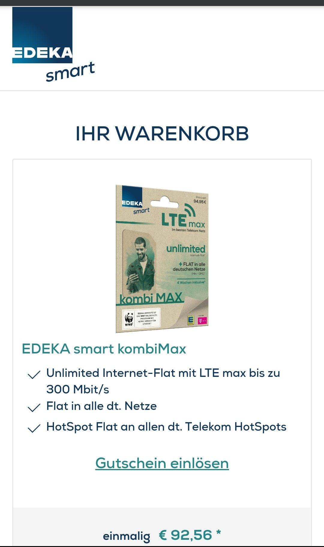"""Edeka Mobil unlimited Internet und Tel 1Monat for """"free"""" durch 100€ Startguthaben"""