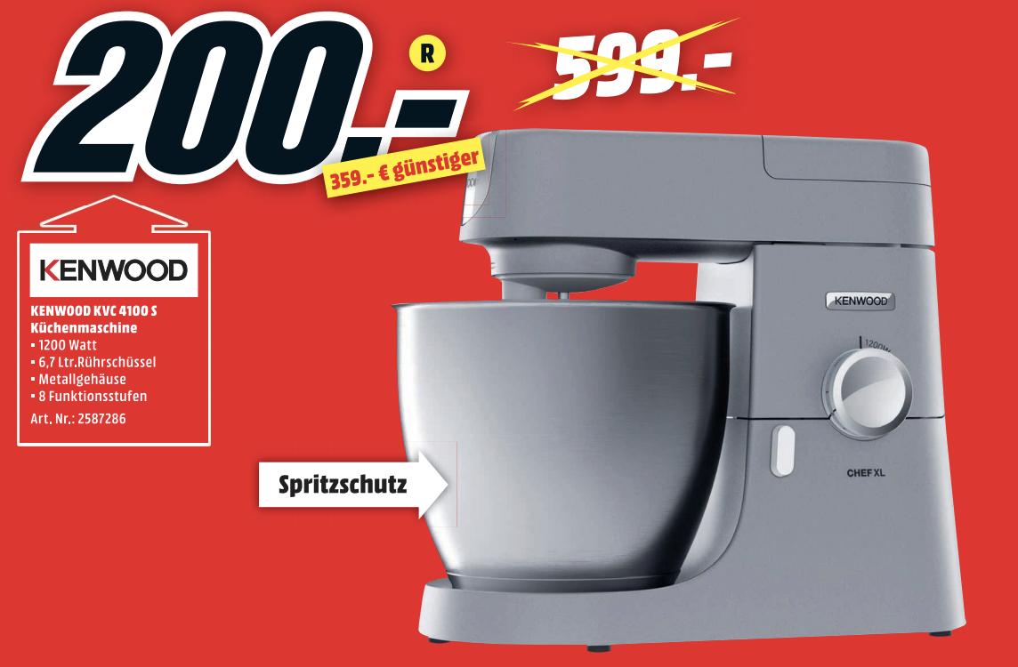 KENWOOD Chef XL KVL4100S Küchenmaschine Silber (Rührschüsselkapazität: 6,7 Liter, 1200 Watt) [MediaMarkt Landsberg]