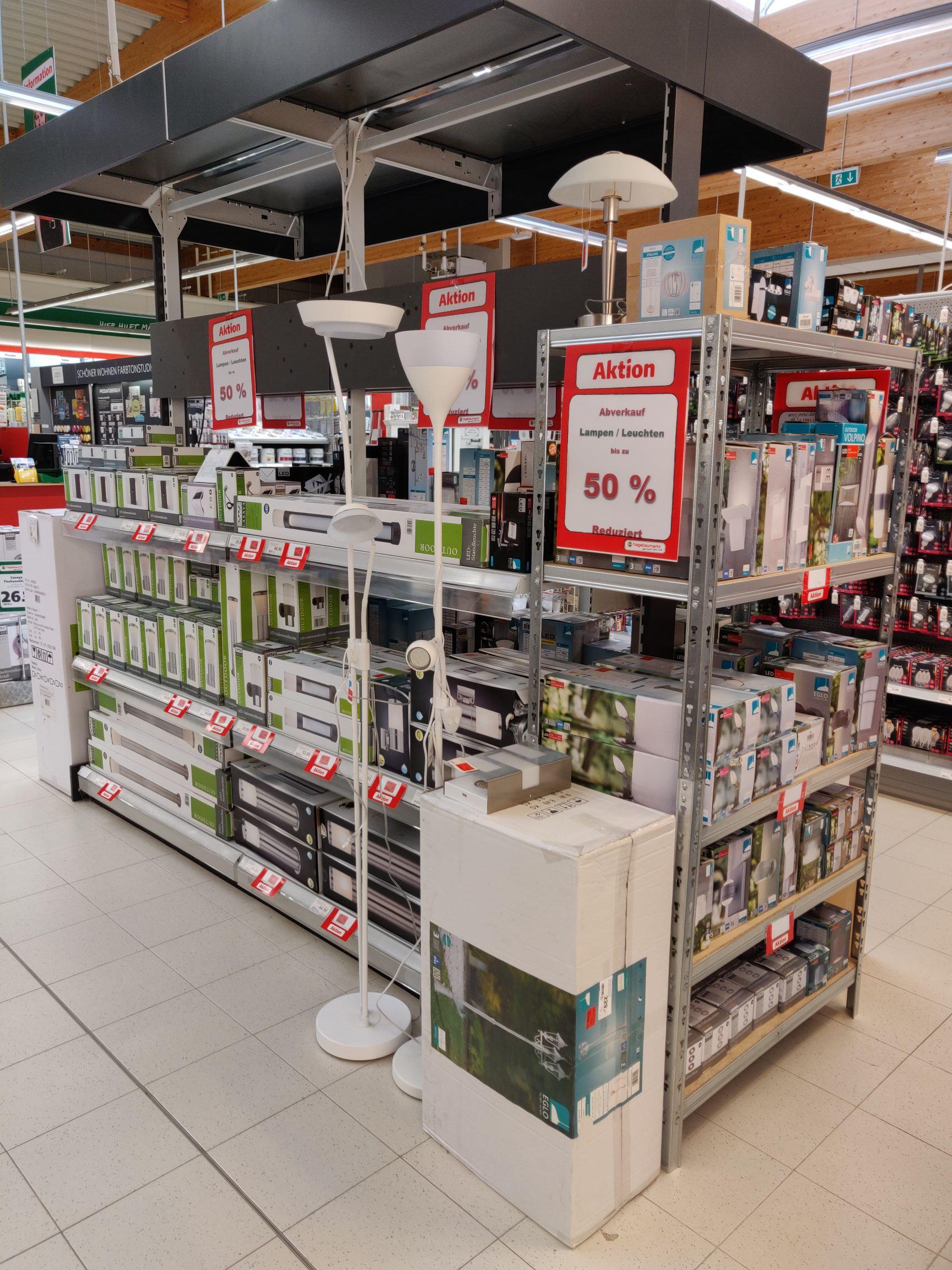 Lokal hagebau Markt Scharbeutz - Abverkauf Lampen Leuchten bis zu 50% reduziert