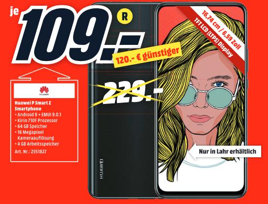 [lokal: Media Markt Lahr] HUAWEI P Smart Z 64GB Dual-SIM (Android 10, 4000mAh, NFC) - 109€   GoPro HERO8 - 277€   Sony SRS-XB01 - 9€